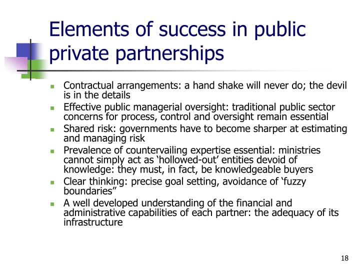 Elements of success in public private partnerships
