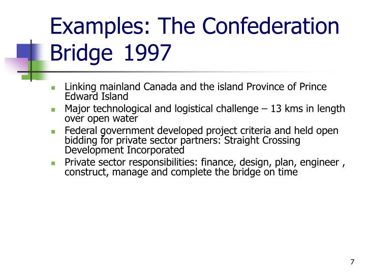 Examples: The Confederation Bridge1997