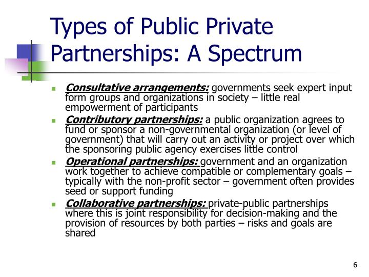 Types of Public Private Partnerships: A Spectrum