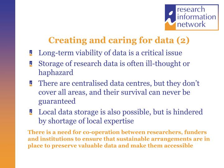 Creating and caring for data (2)