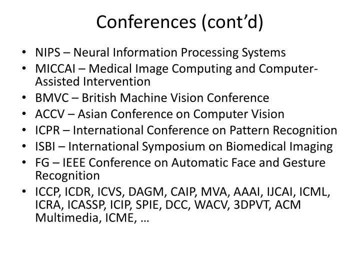 Conferences cont d