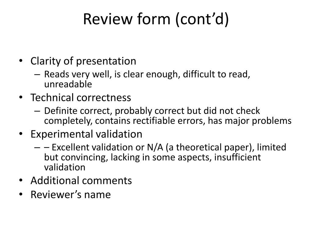 Review form (cont'd)
