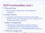 acpi functionalities cont