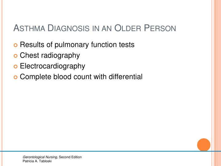 Asthma Diagnosis in an Older Person