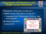 department of elementary and middle grades education