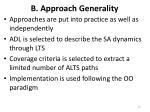 b approach generality