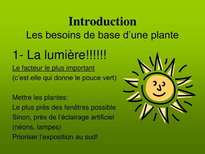 Introduction les besoins de base d une plante