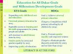 education for all dakar goals and millennium development goals