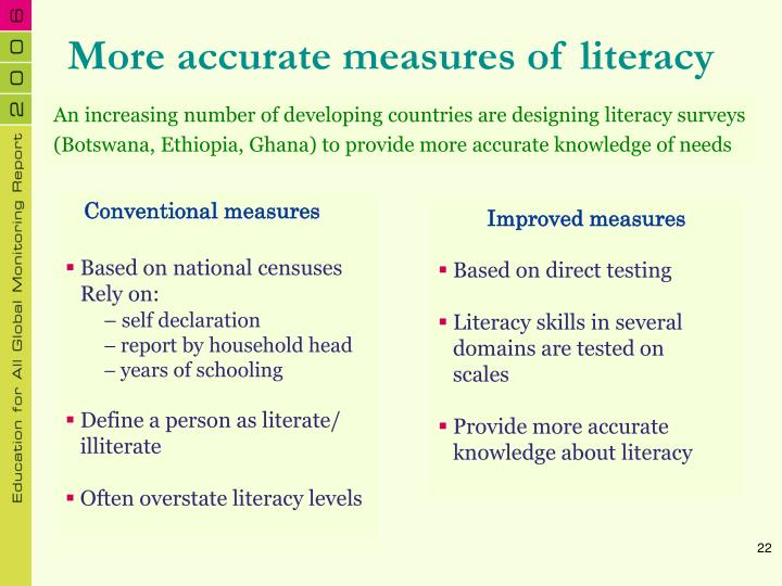 More accurate measures of literacy