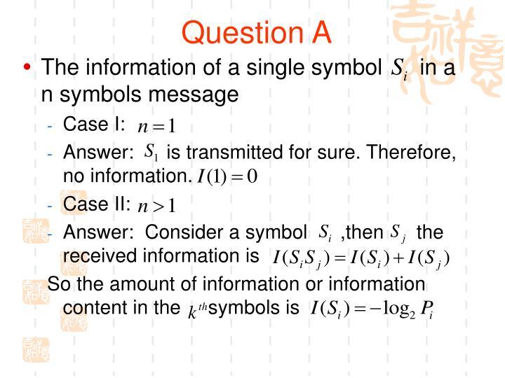 Question A