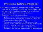 proteinuria definition diagnosis