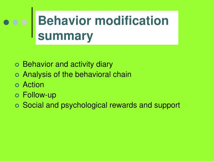 Behavior modification summary
