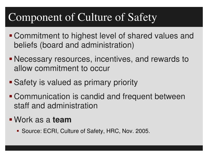 Component of Culture of Safety