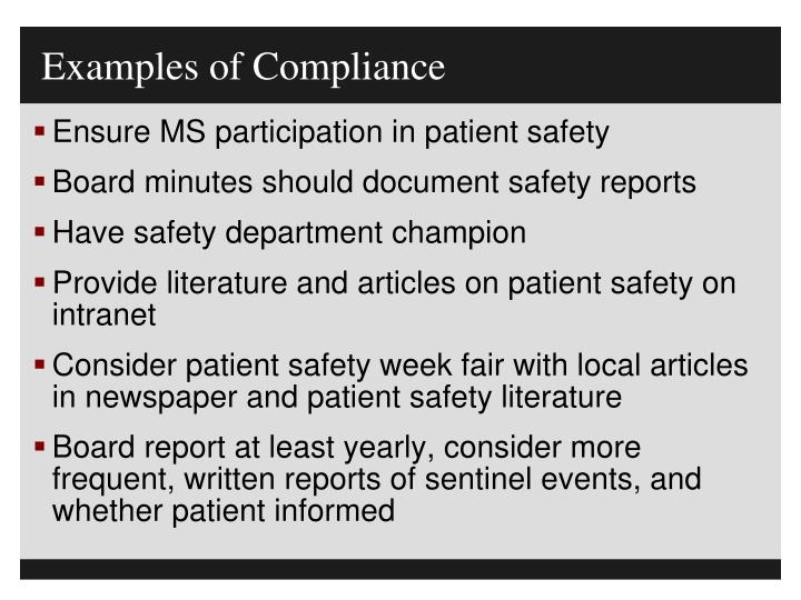 Examples of Compliance