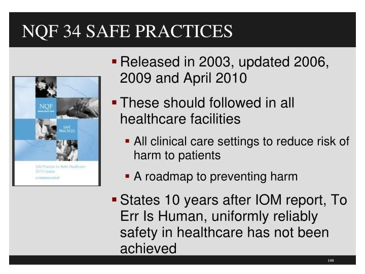 NQF 34 SAFE PRACTICES