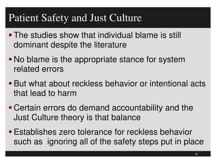 Patient Safety and Just Culture