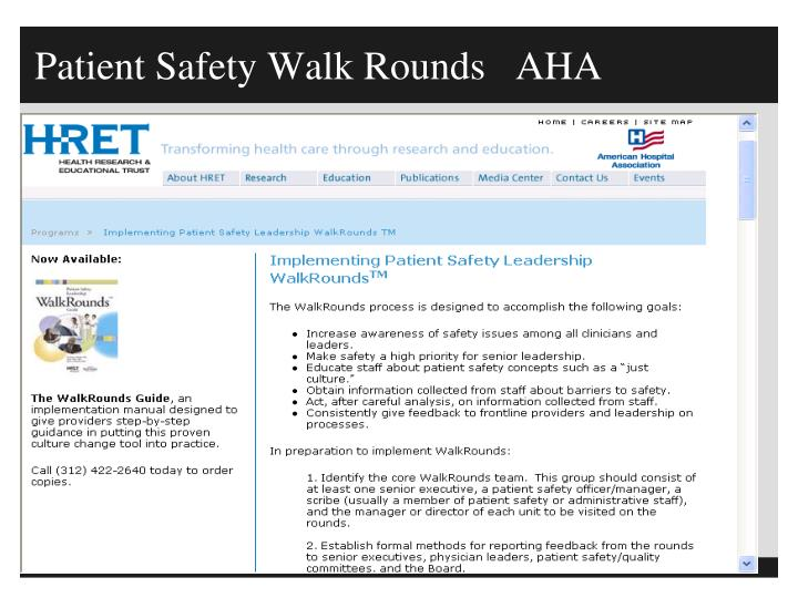 Patient Safety Walk Rounds   AHA