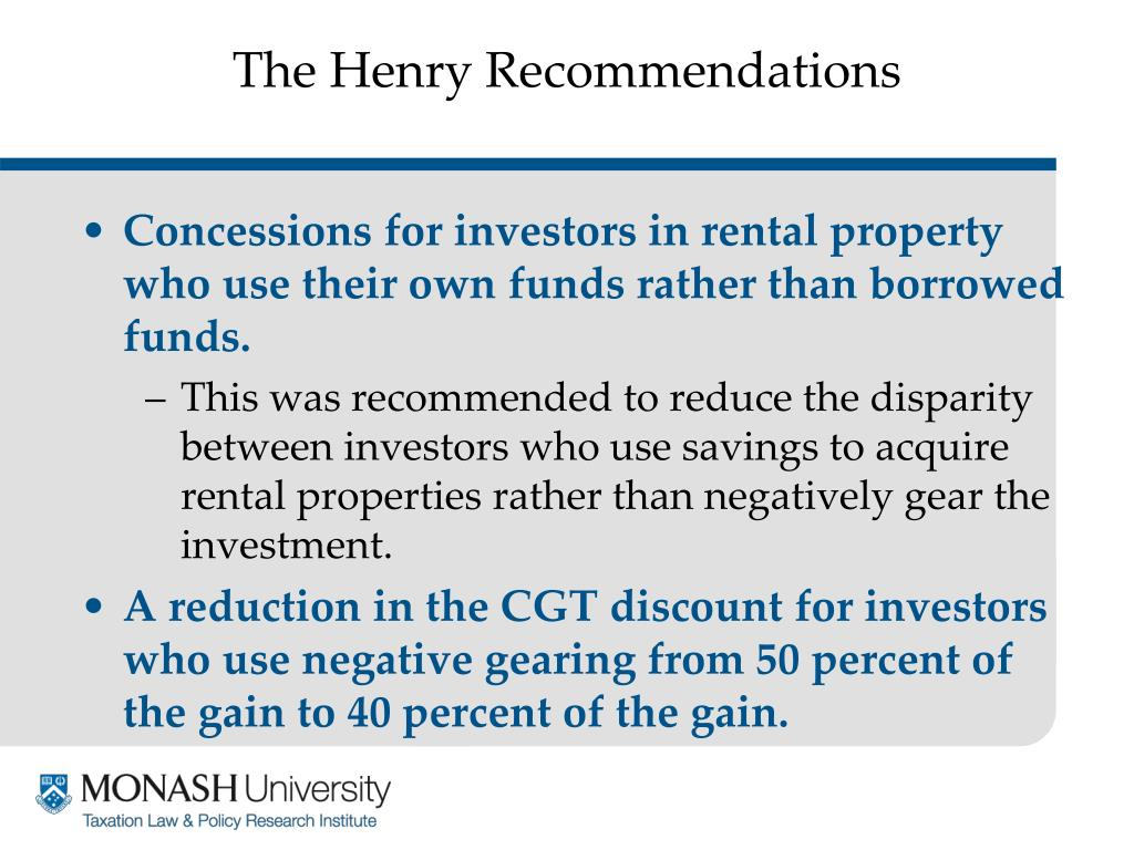 The Henry Recommendations