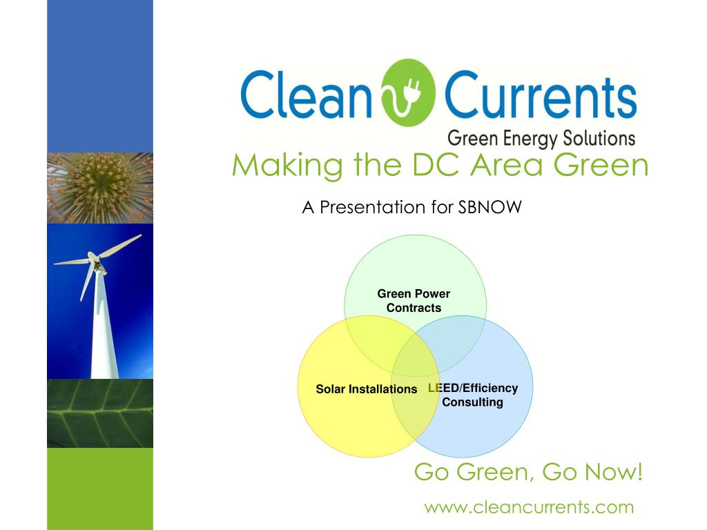 making the dc area green a presentation for sbnow l.