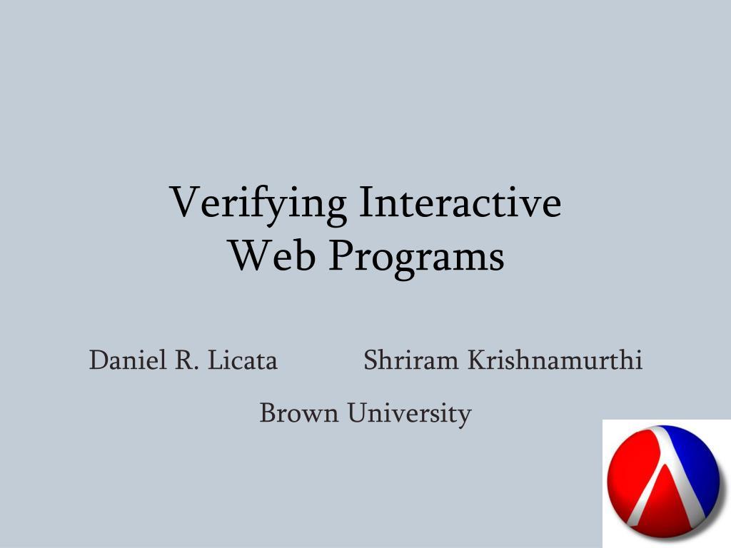 verifying interactive web programs l.