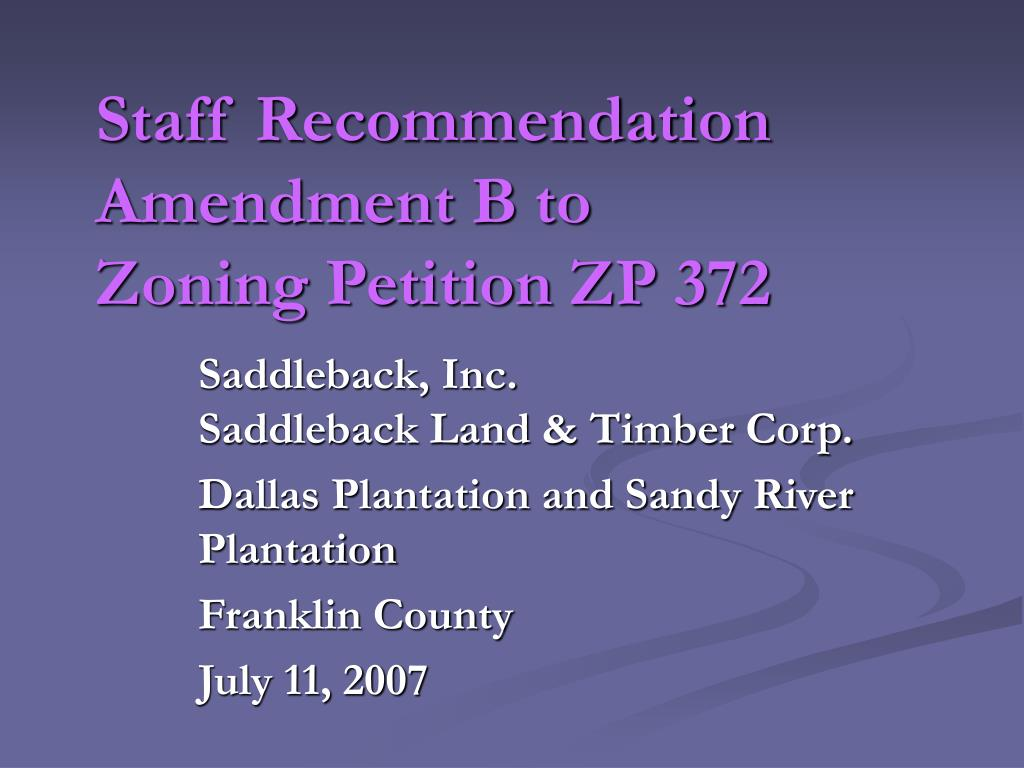 staff recommendation amendment b to zoning petition zp 372 l.