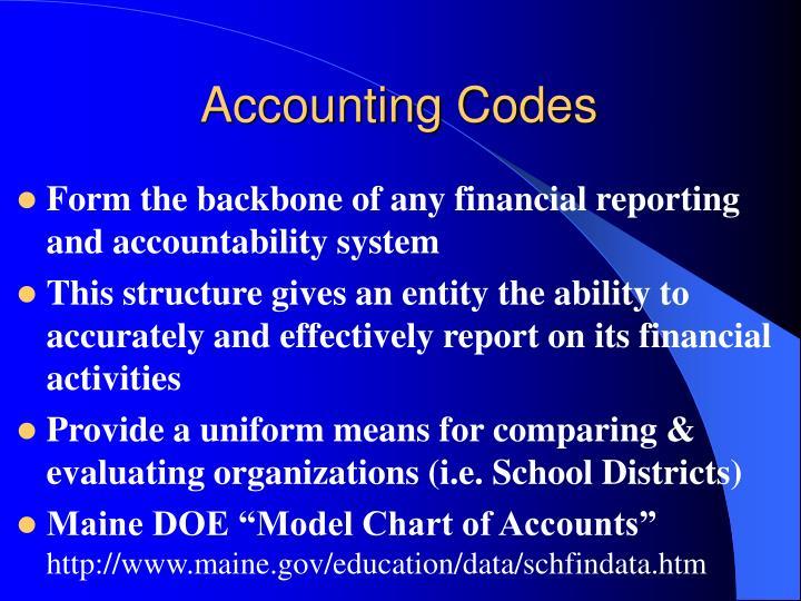 Accounting codes