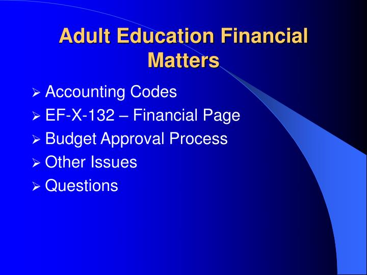 Adult education financial matters1
