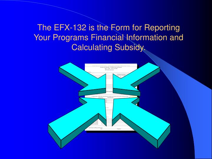 The EFX-132 is the Form for Reporting Your Programs Financial Information and Calculating Subsidy.
