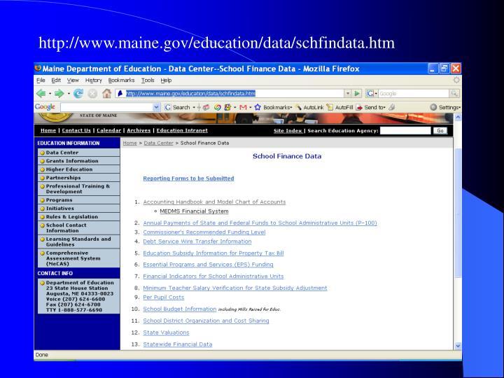 http://www.maine.gov/education/data/schfindata.htm