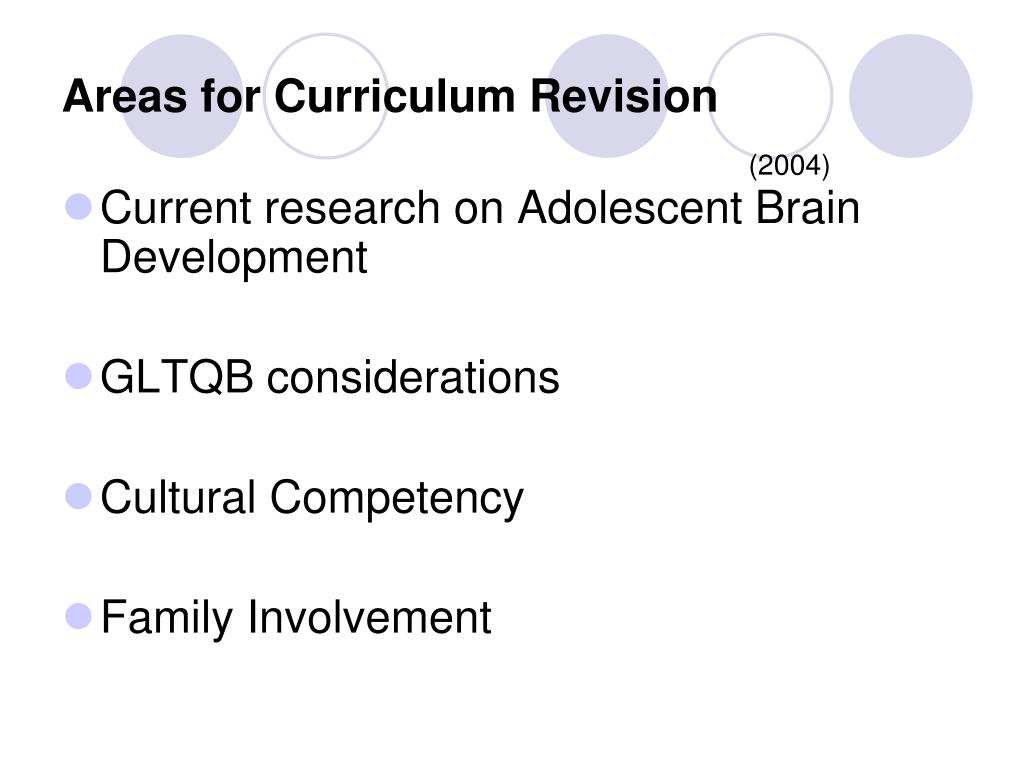 Areas for Curriculum Revision