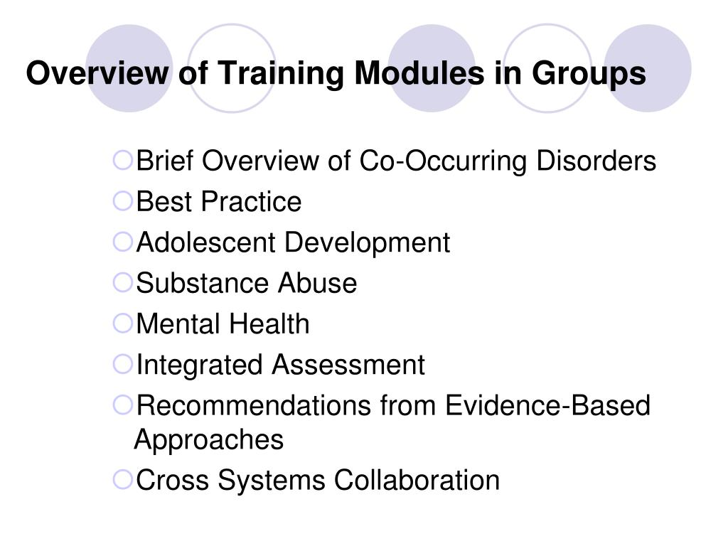 Overview of Training Modules in Groups