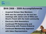 bha 2008 2009 accomplishments