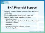 bha financial support