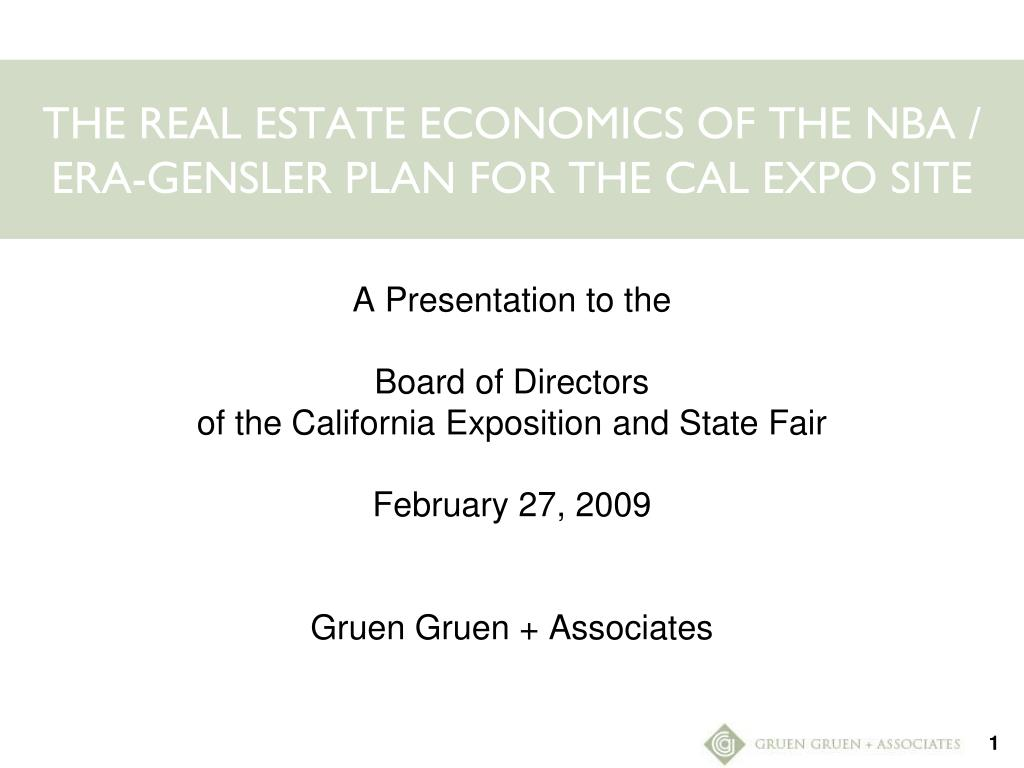 the real estate economics of the nba era gensler plan for the cal expo site l.