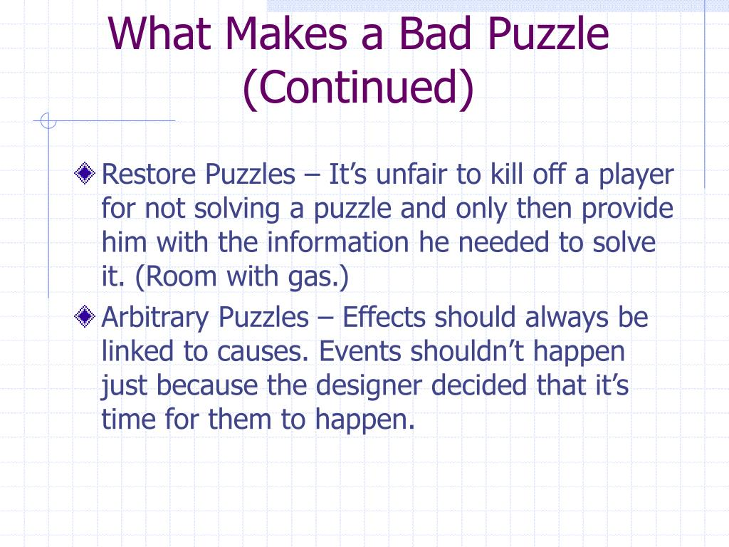 What Makes a Bad Puzzle