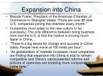 expansion into china