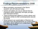 findings recommendations 2008