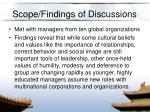 scope findings of discussions