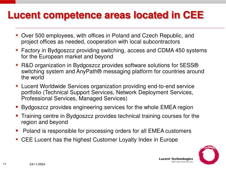Lucent competence areas located in CEE