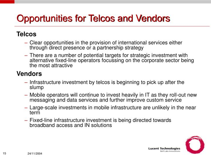 Opportunities for Telcos and Vendors