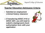 teacher education admission criteria