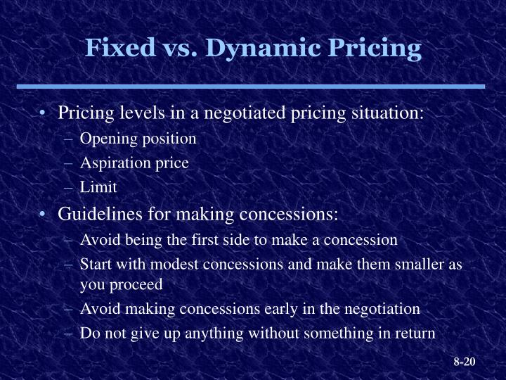 Pricing levels in a negotiated pricing situation: