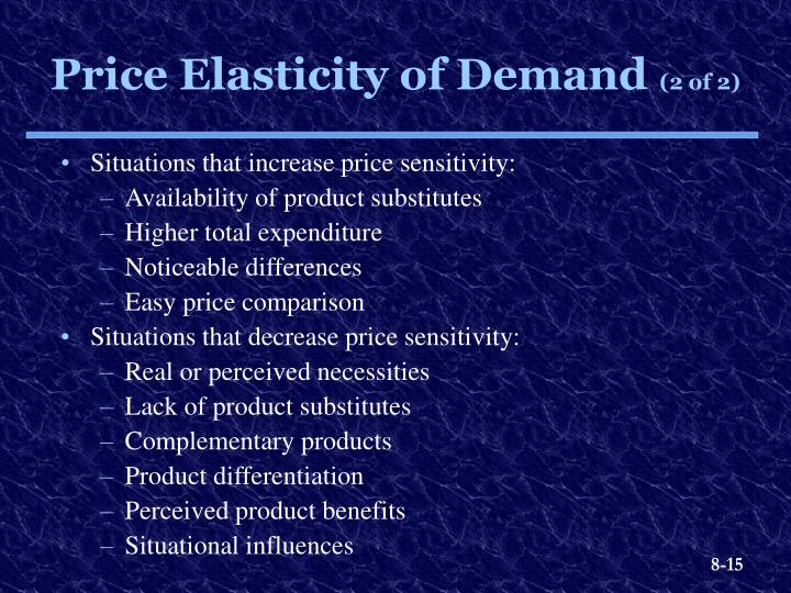 Situations that increase price sensitivity: