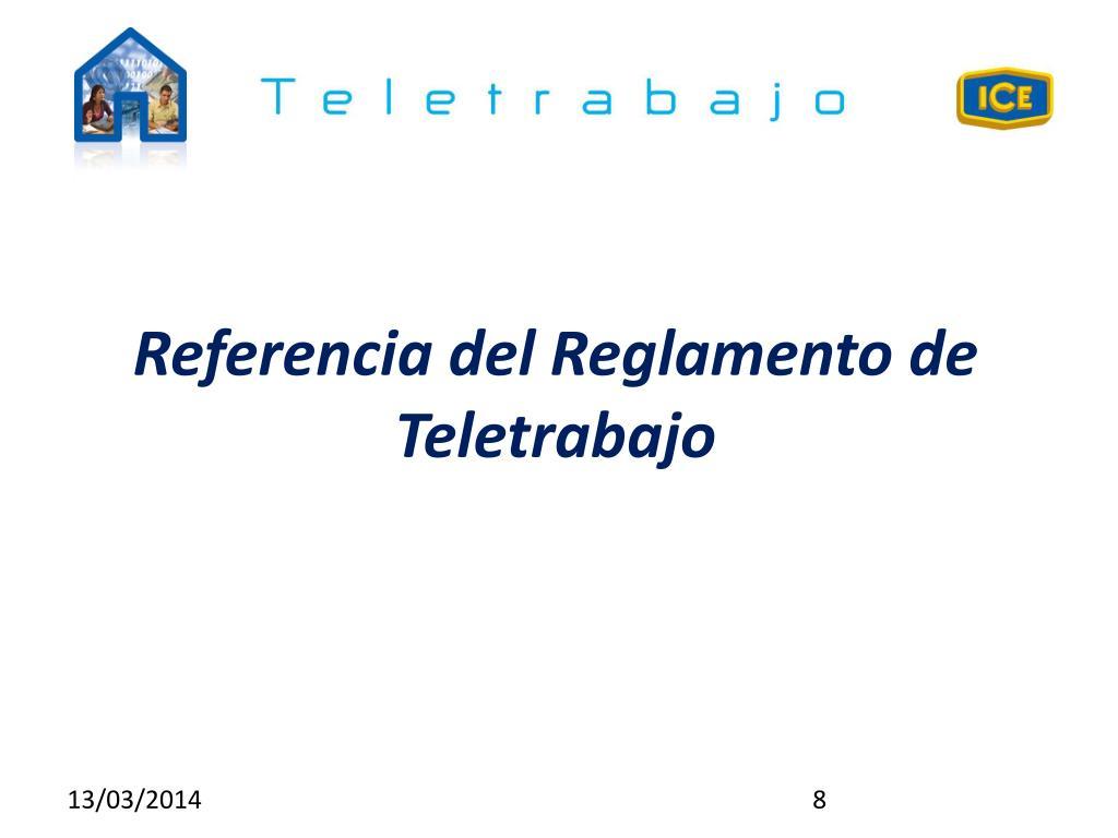 Referencia del Reglamento de Teletrabajo