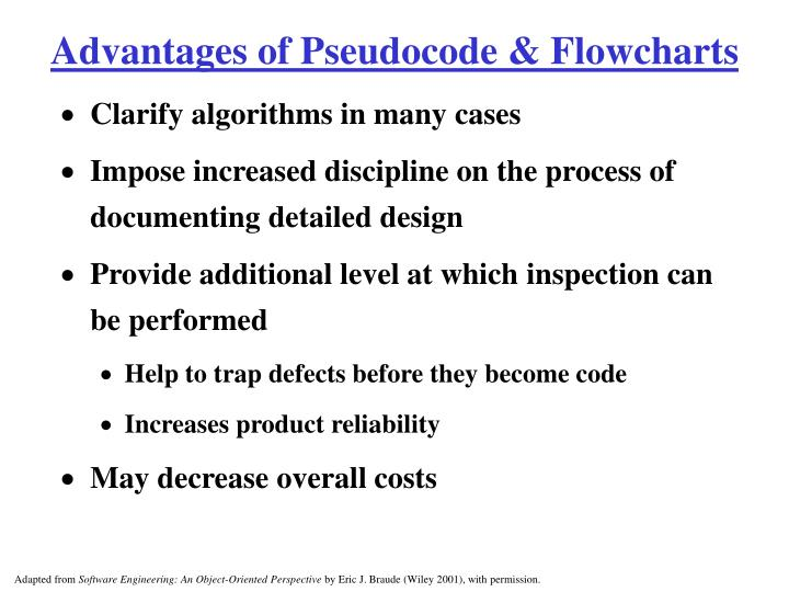 Advantages of Pseudocode & Flowcharts