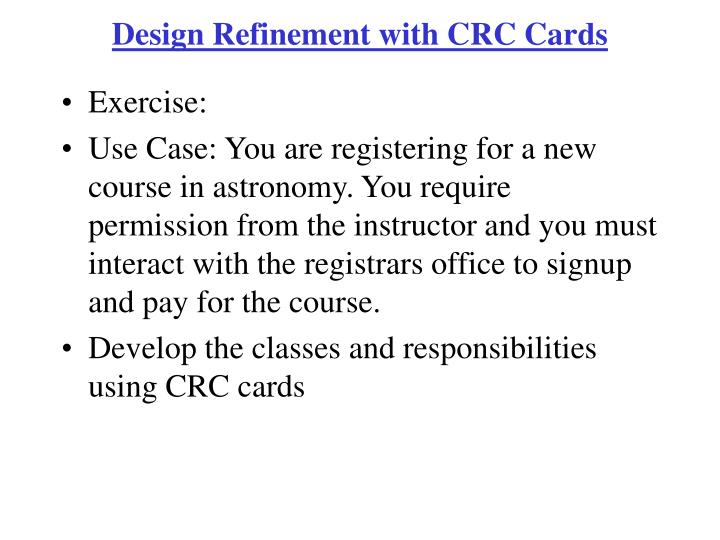 Design Refinement with CRC Cards