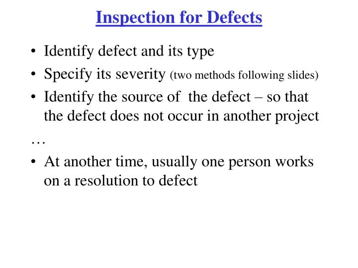 Inspection for Defects