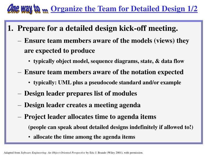Organize the Team for Detailed Design 1/2