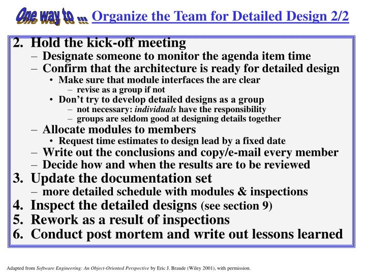 Organize the Team for Detailed Design 2/2