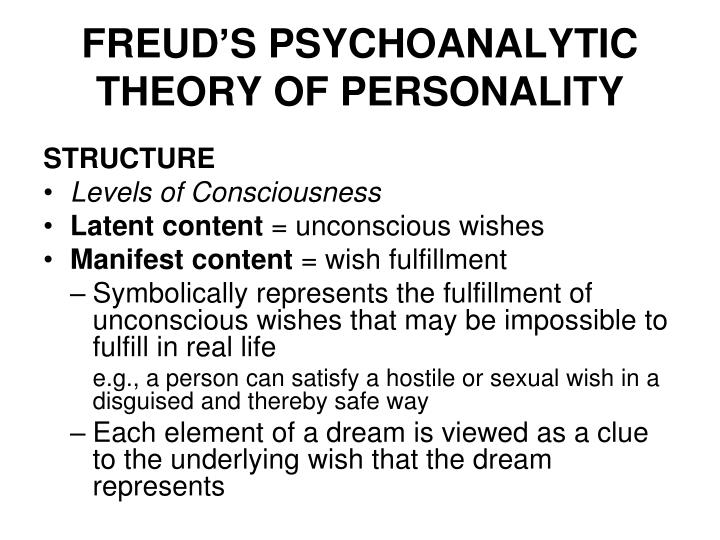 summary of freuds theory of personality essay Sigmund freud is considered one of the foremost theorists of personality development he developed his theories through case histories through which he observed that human psychological.